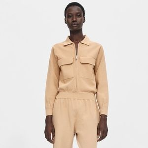 ZARA Stretch Knit Tan Jumpsuit M